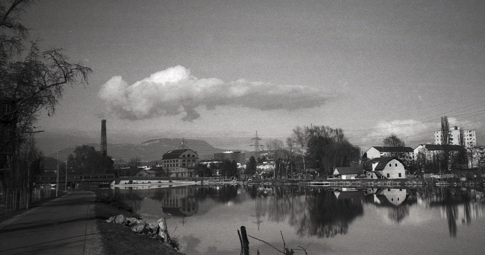 The cloud looks like it is from the chimney - Seifenfabrik, Graz Ilford FP125 120, Taken in Jan. 9th 2021