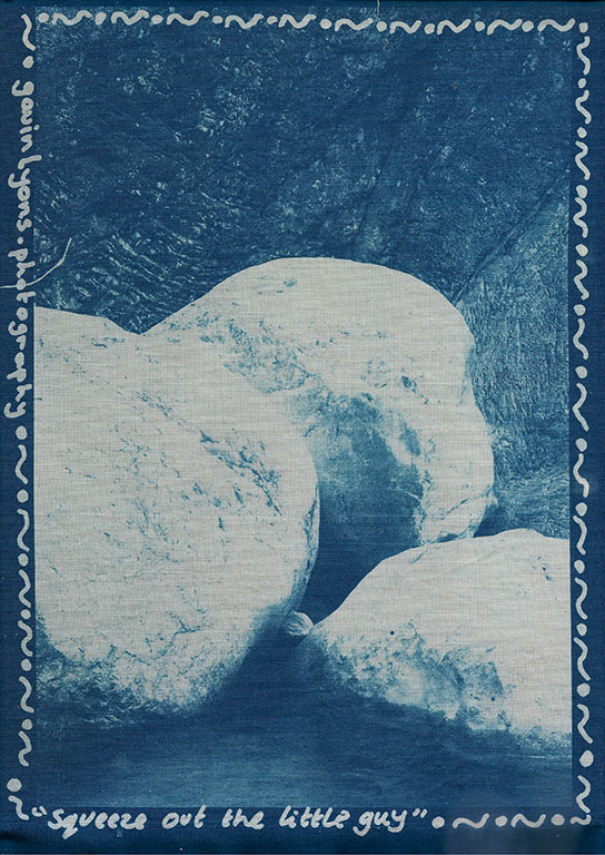 Squeeze out the little guy - Cyanotype on cotton