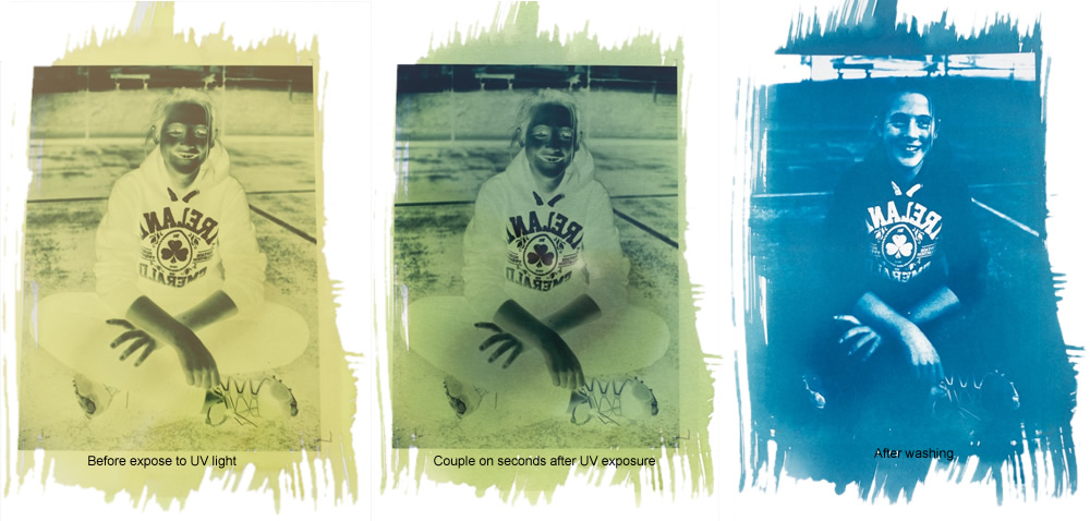 The three stages of Cyanotype, Unexposed to UV light, Exposed and finally fixed are illustrated above.
