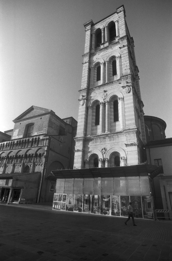 The Renaissance 15th-century bell tower of the Ferrara Cathedral in Ferrara, Emilia-Romagna, Italy